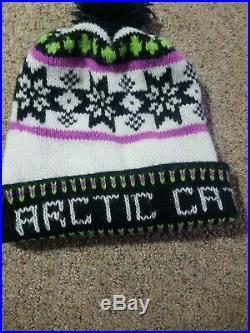 Vintage ARCTIC CAT stockng Hat Snowmobile Winter HAT Men's Women's Pom-Pom RARE