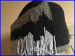 Vintage ART DECO BEADED SKULL CAP -Black White Flapper 1920S-Cleopatra Costume