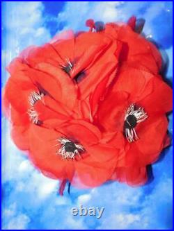 Vintage Adolfo II Red Floral Poppies Hat