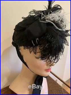 Vintage Antique 1900s Black Straw Hat With Feathers