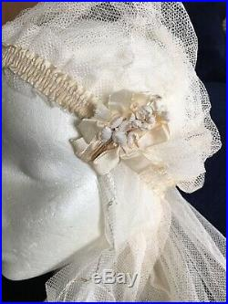 Vintage Antique Bridal Wedding Veil 1910s 1920s Cap Flapper Ivory Net