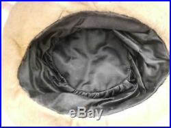 Vintage Antique Ladies Hat Cloche 1920s Mohair Metallic Trim Large Flapper