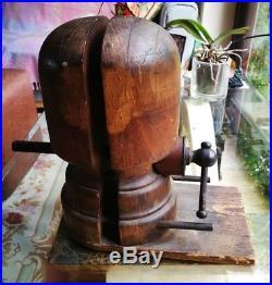 Vintage Antique Millinery Wooden Adjustable Hat Stretcher Block Stand Works