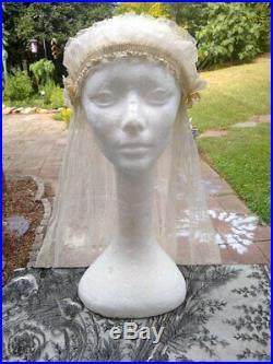 Vintage Antique Wedding Veil 1920s Cap Flapper GORGEOUS