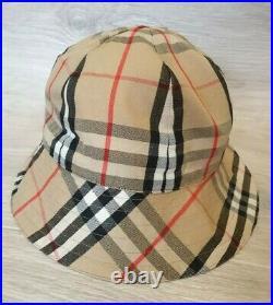 Vintage Auth Burberry Reversible Bucket Hat Cap Nova Check Sz L Diam 24 inch