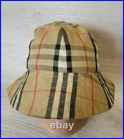 Vintage Auth Burberry Reversible Bucket Hat Cap Nova Check Sz S Diam 22 inches