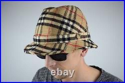 Vintage BURBERRYS Nova Check Plaid Wool Bucket Hat/Cap Size 61 Burberry
