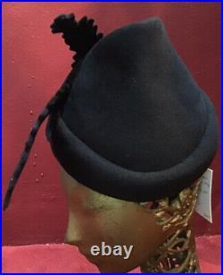 Vintage Black Felt 30s 40s Hat Bird Schiaparelli Paris Hat Tilt Rare Surreal