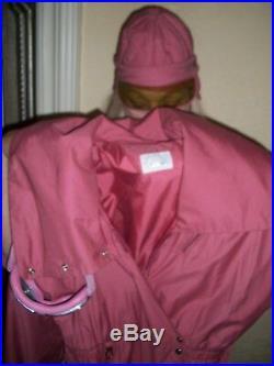Vintage Bogner Ladies Size 8 Dark Rose Ski Suit withMatching Belt, Hat & Goggles