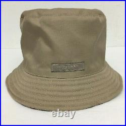 Vintage Burberry Classic Reversible Bucket Hat Cap Nova Check Tan Diam 23 inch