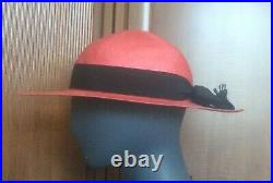 Vintage CHANEL Strawberry Pink Straw Black Bow Sun Hat Made In France Size 58