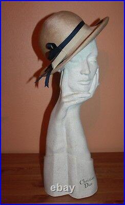 Vintage CHRISTIAN DIOR CHAPEAUX PARIS Grevi HAT bucket clochet millinery wool