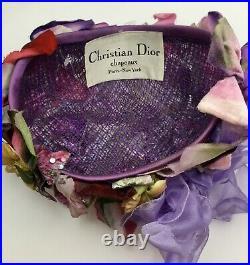 Vintage CHRISTIAN DIOR Chapeaux Hat Floral Ladies 1960s MILLINERY