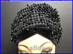Vintage CHRISTIAN DIOR Chapeaux NY/Paris Black Faceted Jewels Slouch Turban WOW