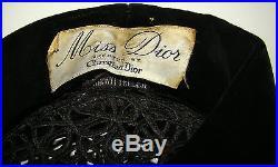 Vintage CHRISTIAN DIOR Miss Dior Black Velvet Pillbox Hat with Lattice/Beading
