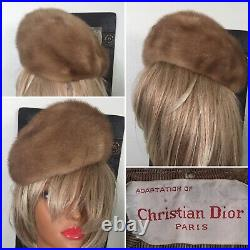 Vintage CHRISTIAN DIOR Paris France Fur Hat 50s