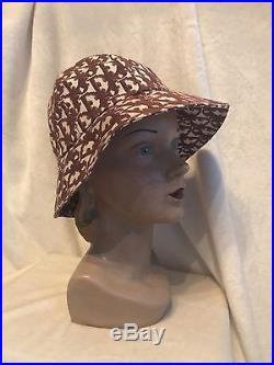 Vintage CHRISTIAN DIOR Pink Red Monogram Bucket Hat, One Size