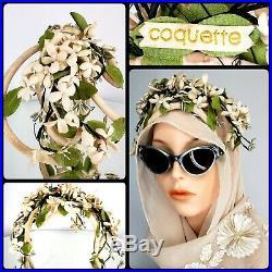Vintage COQUETTE 50s Millinery Floral Fascinator Hat Wedding Flapper Whimsie