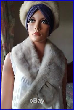 Vintage Ceruline Sapphire Mink Fur Stole Shawl Collar Wrap & Matching Mink Hat