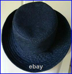 Vintage Chanel Navy Linen Bucket Hat Size 58