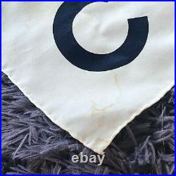 Vintage Chanel Silk Scarf Navy/white Woman Wearing Hat & Chanel Bag 34x34
