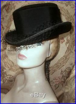 Vintage Christian DIOR RIDING HAT Black Velour Felt Hat w Silk Veiling, Ribbon L
