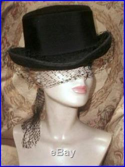 Vintage Christian DIOR RIDING TOP HAT Black Velour Felt w Silk Veiling Ribbon L