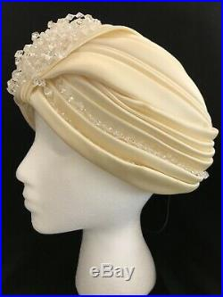 Vintage Christian Dior 60s turban cream/ivory satin with clear beaded accents