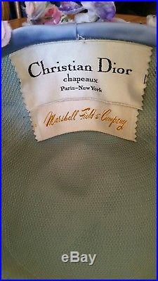 Vintage Christian Dior Chapeaux Floral Hat Purple & Blue Lovely Cloche