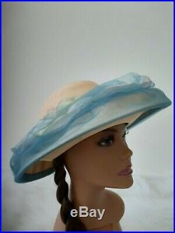 Vintage Christian Dior Chapeaux Paris New York Blue Lace Hat