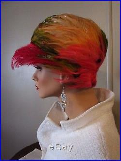 Vintage Christian Dior Chapeaux Paris New-York Exotic Feather Cloche Hat f7af97256cda