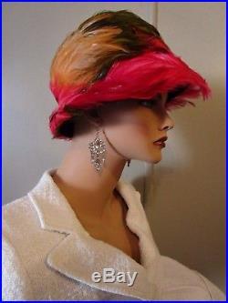 Vintage Christian Dior Chapeaux Paris New-York Exotic Feather Cloche Hat