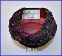 Vintage Christian Dior Chapeaux Paris New-York Feather Cloche Hat