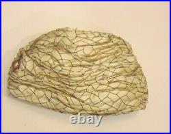 Vintage Christian Dior Chapeaux Paris New York Turban Satin Hat with Rhinestone