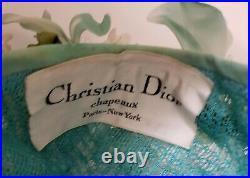 Vintage Christian Dior Chapeaux Paris-New York Women's Hat Blue Roses / Floral