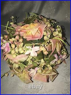 Vintage Christian Dior Chapeaux Paris-New York Women's Hat Pink Roses / Floral