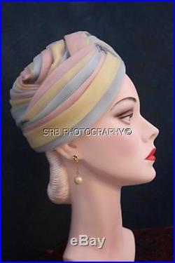 Vintage Christian Dior Chapeaux Paris Vintage 50s Pastel Colors Turban Hat 8920dba4b35