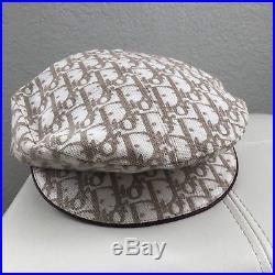 Vintage Christian Dior Trotter Charms Monogram Logo Print Paper Boy Beret Hat