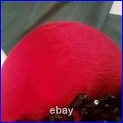Vintage Christian Dior chapeaux ParisNew York Flapper Red Hat, Short fur beaded