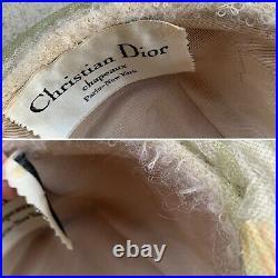 Vintage Christian Dior chapeaux ParisNew York Turban Hat Feathers 60s 1960s