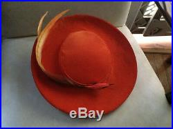 Vintage Classy Outing Women's Velvet Orange Feathered Old Fashioned Hat Ladies