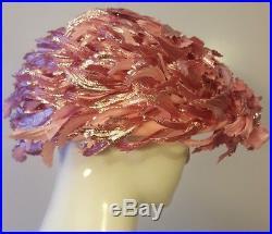 Vintage, D, Pink, Wool, Rhinestone/Feathered Applique, Pillbox Hat (Med)