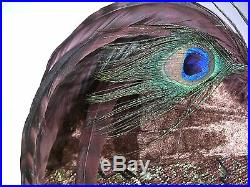 Vintage DONNA VINCI COUTURE Hat Wool Brocade Fabric Peacock Feathers EXCELLENT