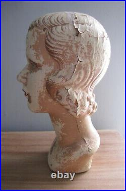 Vintage Deco 20s 30s Gothic Woman Lady Mannequin Hat Head Bust Jean Harlowe