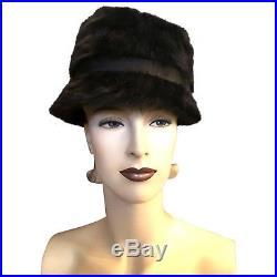 Vintage Dior Black Angora Mod 1960s Audrey Hepburn Style Deep Cloche Hat