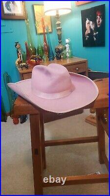 Vintage Don Hoy Cowboy Hat 6 5/8 Felt pink western cowgirl 1940s 1950s