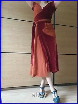 Vintage Donna Karan DKNY silk wool velvet orange rust red wrap dress uk 10