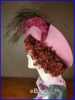Vintage Dramatic Jack McConnell Red Feather Hat Pink Felt Wide Brim Derby H30