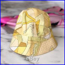 Vintage EMILIO PUCCI yellow cotton bucket hat size 1 Made in Italy