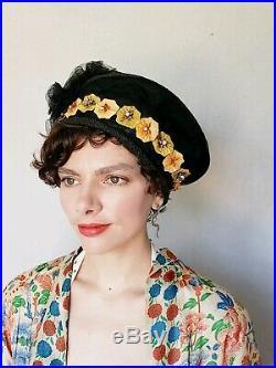 Vintage Edwardian Black Straw Hat 1910s Art Nouveau Silk Flowers Cloche Bucket